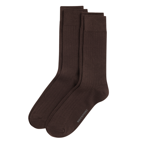 Men's Rayon Rib Crew Socks in Brown